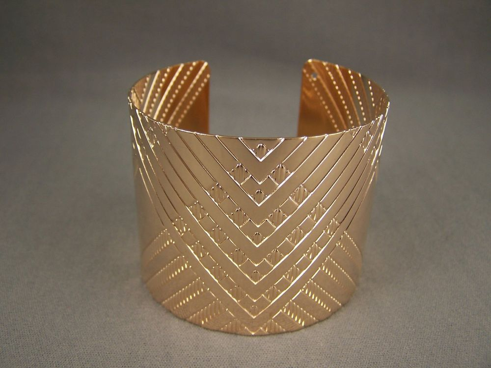 "Gold Tone Metal Bangle Cuff 2"" Wide Bracelet Chevron Zigzag Textured Pattern 