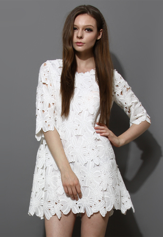 dress white floral crochet shift