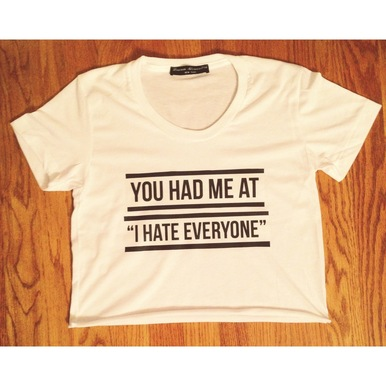 I HATE EVERYONE Crop Tee  - Lauren Alexandra NY