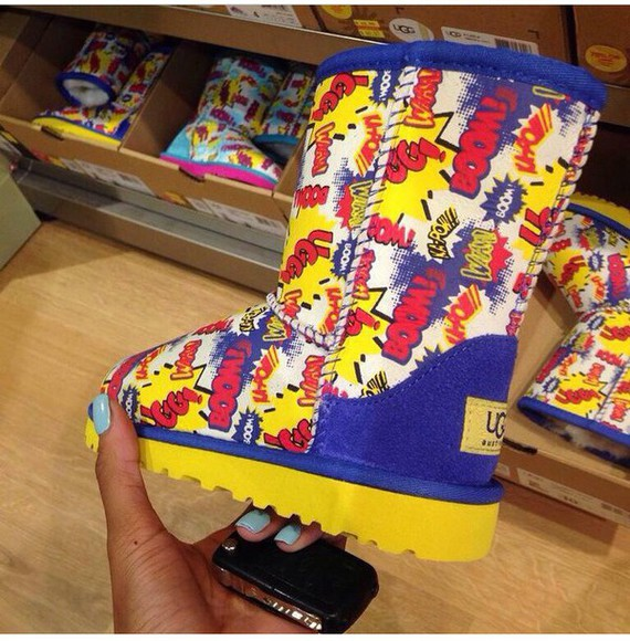 cartoon shoes ugg boots superman, blue, red, funky, style, black yellow