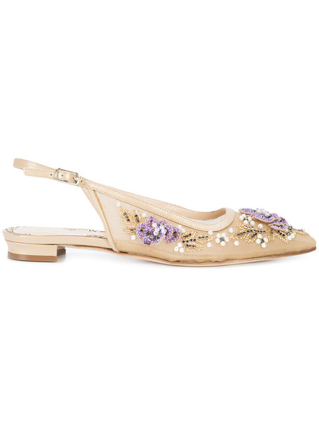 Marchesa women flats leather nude shoes