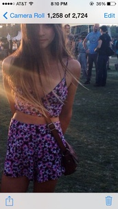 jumpsuit,top,bottom,shirt,cute,floral,purple,two-piece,summer,two piece dress set