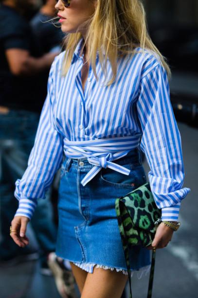 6b65e69903b shirt tumblr stripes striped shirt long sleeves mini skirt skirt denim skirt  bag frayed denim skirt