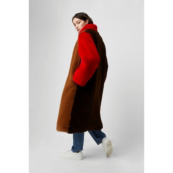 Claudie Faux Fur Oversized Colour Block Coat - camel/red/dark chocolate