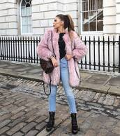 coat,tumblr,pink coat,fur coat,faux fur coat,denim,jeans,blue jeans,boots,black boots,backpack,winter outfits