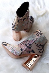 shoes,boots,ankle boots,high heels,high heels boots,nude,nude heels,gold,gold heels,zip,floral,floral booties,flowers,pink,green,black,metallic shoes,rose gold,embroidered,metallic,fashion,instagram,booties,zara shoes,zara
