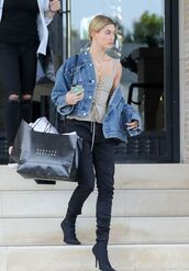 top,bustier,hailey baldwin,jacket,denim jacket,boots,model off-duty,spring outfits
