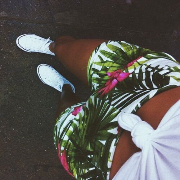 pink shorts white pink flowers converse palm tree print green