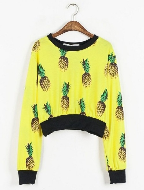 sweater pineapple yellow jumper yellow swimwear pineapple print clothes