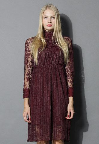 dress retro elegance lace dress in burgundy chicwish lace dress burgundy