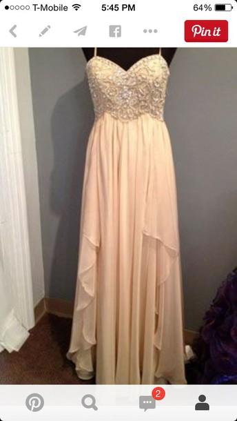 dress prom dress cream beaded bodice long dress
