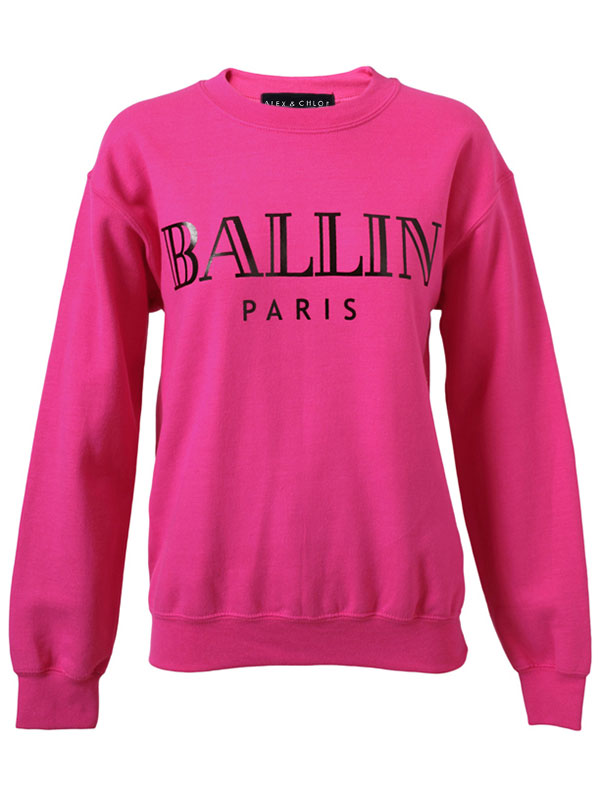 ALEX AND CHLOE / BALLIN IN PARIS SWEATSHIRT - FUCSHIA W/BLACK-FOIL : ALEX & CHLOE - Brian Lichtenberg, Homies, Wildfox Couture, UNIF, Homies South Central at ALEX & CHLOE