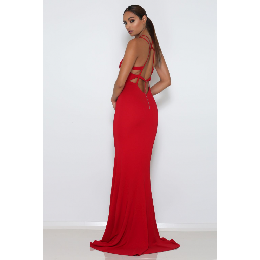 Abyss by Abby - Troy - Red mermaid gown with train at ShaideBoutique – SHAIDE BOUTIQUE