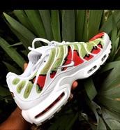 shoes,air max tn,red snakeskin,green snakeskin,nike,nike air max plus,air max,white,white nikes,air max plus,snake print,sneakers,snake,white sneakers,snake skin
