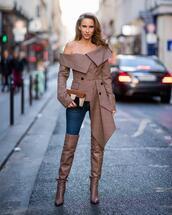 bag,mini bag,shoulder bag,boots,over the knee,jeans,skinny jeans,checkered,off the shoulder,blouse