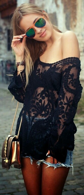 shirt boho see through sexy lace lacey black cute cute shirt cute black shirt cute lace shirt black shirt lace shirt black lace shirt girly