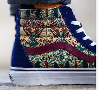 shoes vans sk8-hi zip burgundy high top sneakers blue