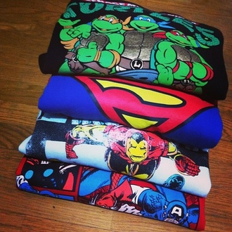 shirt t-shirt superheroes superman ninja turtles iron man captain america cute sweater sweatshirt girly swag childhood