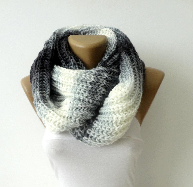 knit infinity scarf , unisex - eternity scarves - men scarf ,fashion accessory ,women scarf crochet scarf colorblock scarf senoAccessory