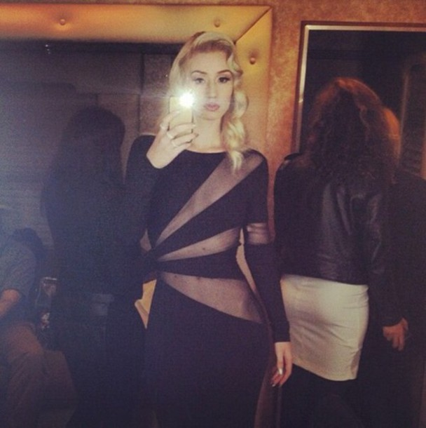 dress black dress iggy azalea cut-out dress