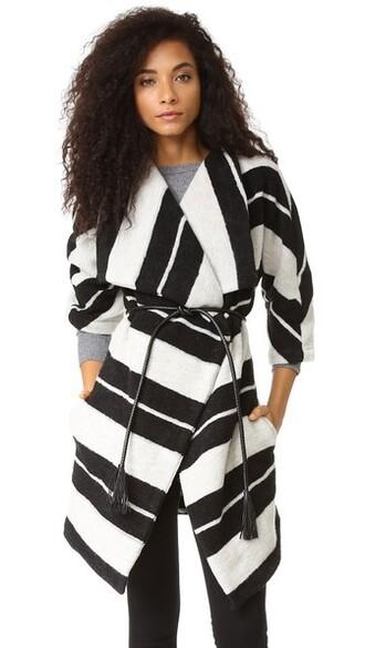 coat striped coat black
