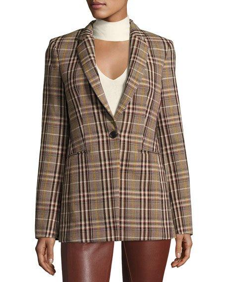 56c88ef529 Theory Power Bexley Plaid Wool Blazer Jacket, Multi