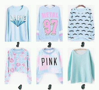 moustache blue sweater pastel sweater number