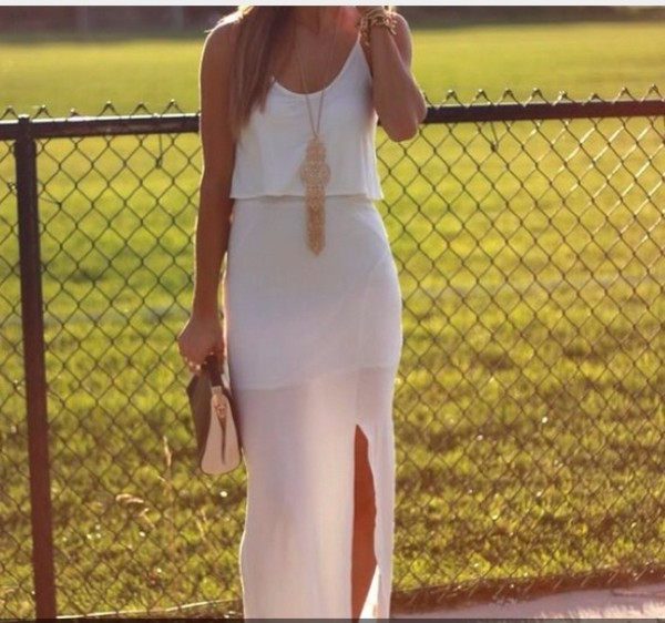 dress white loose dress
