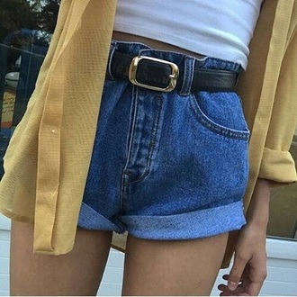 shorts denim denim shorts summer tumblr grunge aesthetic belt blue yellow cute outfit