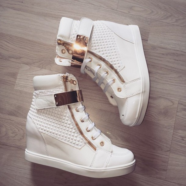 shoes gold and white high top gym s shoes