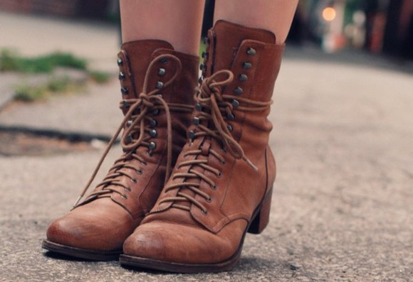 low heels leather brown shoes flat boots