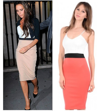 bodycon dress panel dress victoria beckham long dress contrast dress