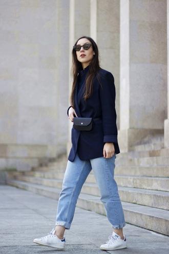 sunglasses cat eye blazer blue blazer jeans denim blue jeans sneakers white sneakers low top sneakers belt bag