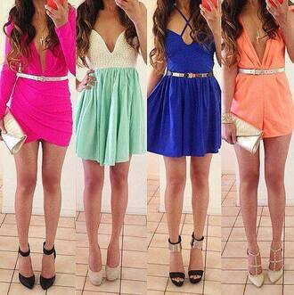 dress shoes orange pink shorts green mini dress sexy heels high heels belt gold bag handbag skirt jewels necklace white blue hair girl black