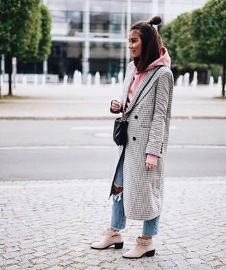 coat tumblr plaid plaid coat grey coat denim jeans blue jeans boots ankle boots pink boots bag black bag