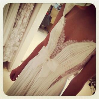 dress ball gown dress prom dress white dress lace chiffon long dress white prom elegant bows formal dress
