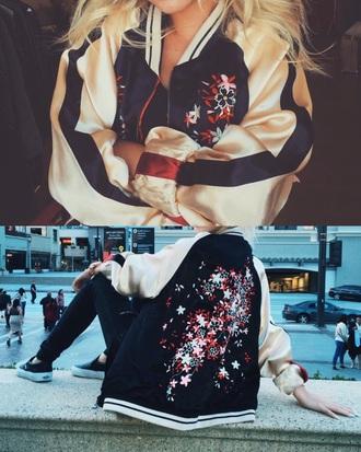 jacket bomber jacket satin bomber zara white red blue flowers
