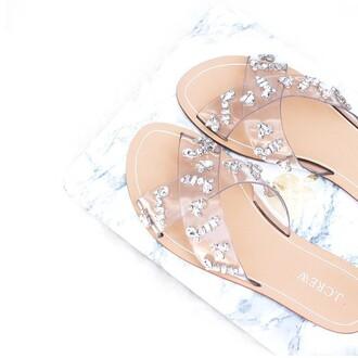 shoes jeweled sandals silver sandals slide shoes beach embellished