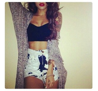 cardigan top crop tops shorts short bra top bralette crop red lipstick clothes cute cute top cute shorts sexy outfit summer outfits full outfit