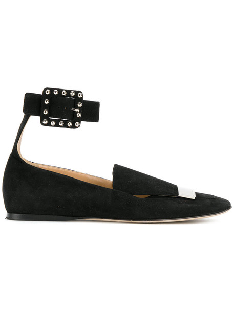 women flats leather suede black shoes