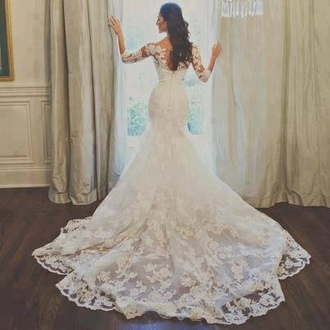 dress perfect wedding clothes wedding dress bride lace dress