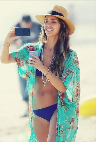 cardigan jessica alba kimono hat swimwear floral kimono floral blue swim cover up top floral chiffon beach cover up kimono coat beach sunshine wave summer holidays chiffon