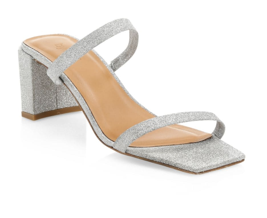 By Far Tanya Glitter Leather Mules