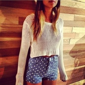 shorts,polka dots,High waisted shorts,blue,white,sweater