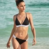 swimwear,calvin klein,macys,two-piece,bathing suit top,summer,bikini,bikini top,black and white,black swimwear,black and white swimwear