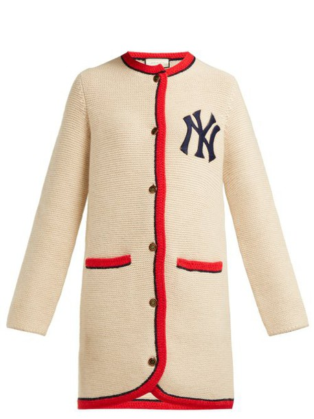 Gucci - Yankees Logo Wool And Alpaca Blend Long Cardigan - Womens - Cream Multi