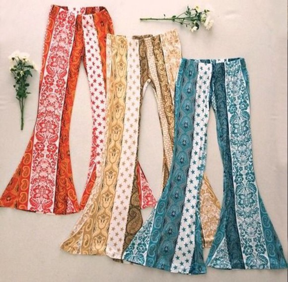 blue pants boho boho pant hippy pants yellow pants orange pants flare boho chic boho pattern