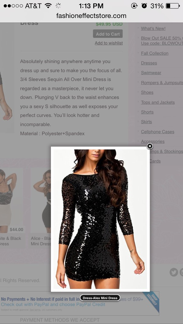 sequins black long sleeve dress