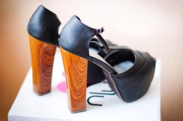 shoes black heels wood