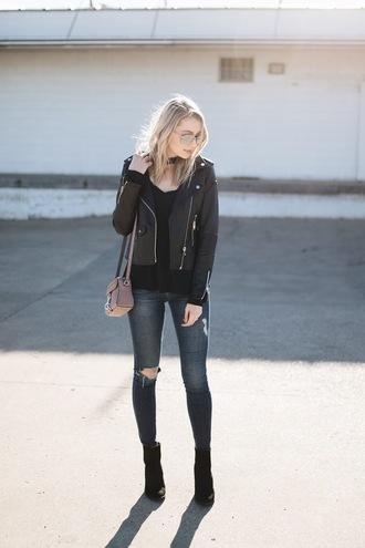love lenore blogger jacket top jeans shoes sunglasses bag black leather jacket ankle boots